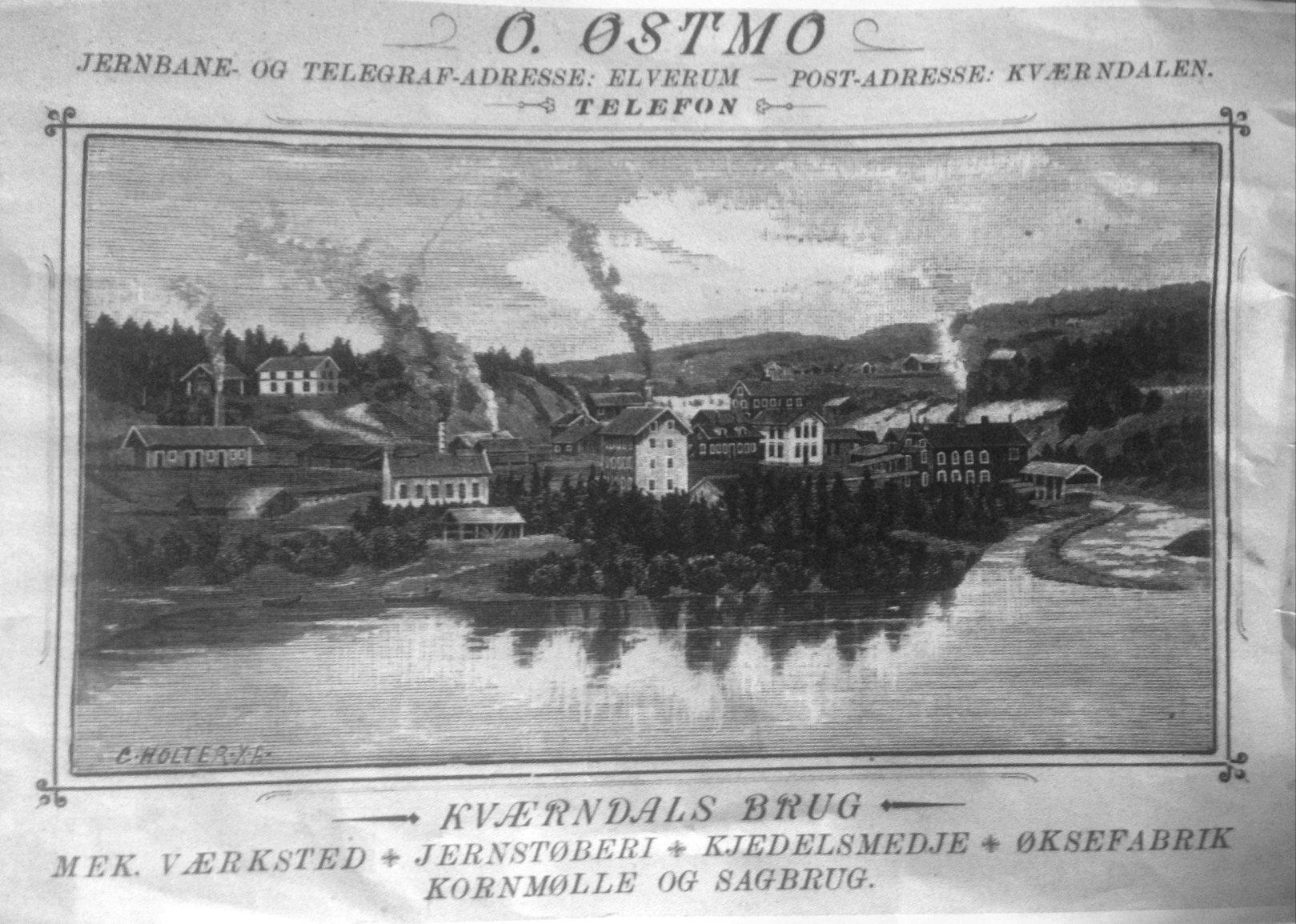 Visittkort fra Østmo i 1890